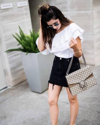 top ruffled top tumblr white top ruffle bag gucci gucci bag skirt denim denim skirt black skirt