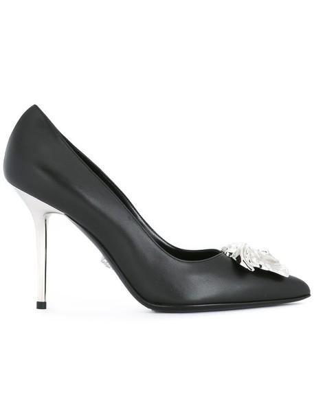 VERSACE metal women pumps leather black shoes