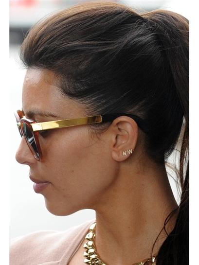 Sugar Bean Single Initial Earring Stud in Gold as Seen On Kim Kardashian