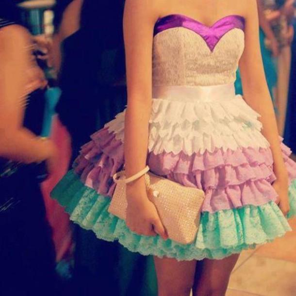 dress lace dress prom dress prom party light blue purple white