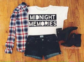 t-shirt one direction black and white flanel black dress shorts boots midnight memories print 1direction jacket