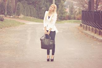 charmeuse blogger jacket bag pumps