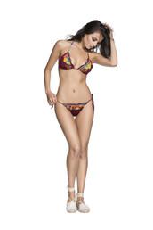 swimwear,bikini,cheeky,print,red,tie sides,triangle,bikiniluxe