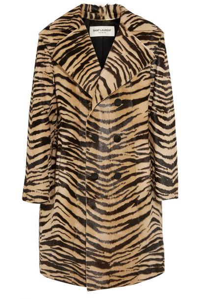 Saint Laurent coat hair tiger print brown leopard print