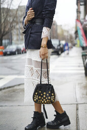 song of style,blogger,jacket,belt,jewels,maxi dress,lace dress,white dress,blazer,shoulder bag,black boots,studded bag,striped jacket,white lace dress