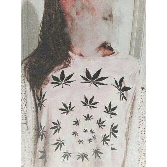 white sweater swag shirt weed green pullover marijuana