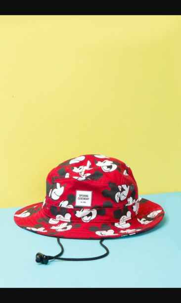 b7ee167d hat, mickey mouse, red mickey mouse bucket hat, bag - Wheretoget