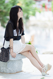 metallic paws,blouse,skirt,shoes,bag,belt,jewels,eyelet skirt,mini skirt,white,white skirt,black shirt,mesh,bucket bag,polka dots,sandals,sandal heels,high heel sandals