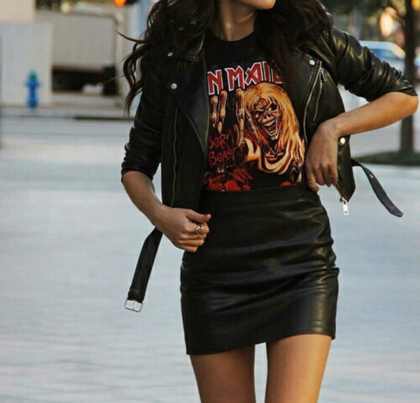 a43648d4 skirt short black shirt t-shirt grunge outfit iron maiden jacket black  leather skirt leather