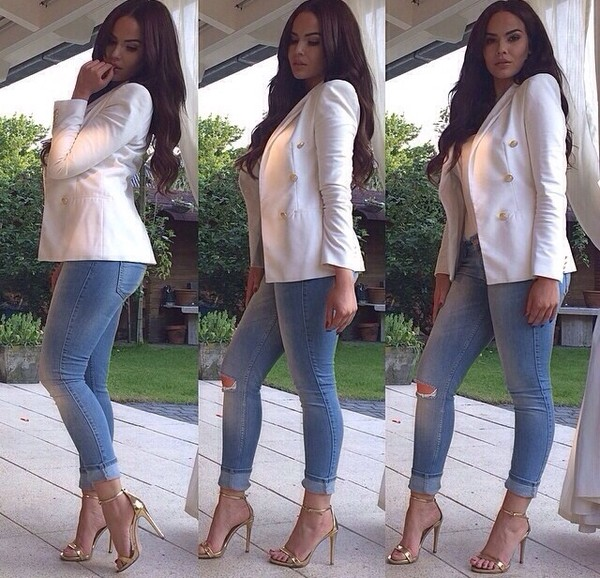 jacket jeans shoes high heels heels