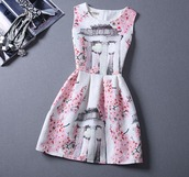 dress,pink dress,pink,pink by victorias secret,printed dress,vest,the cherry blossom girl