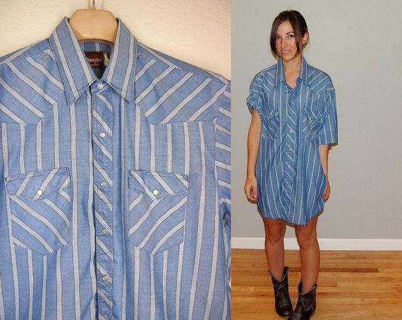 Vintage wrangler pearl snap button short sleeve chambray shirt,size xl, blue white brown stripe