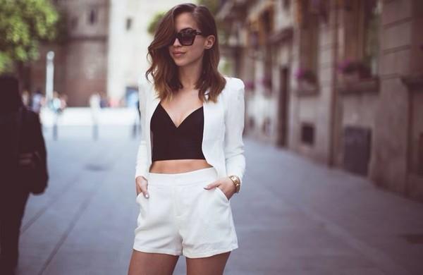 jacket shorts white matching shorts and top