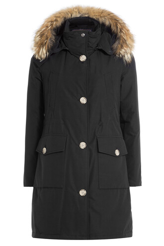 parka long fur black coat
