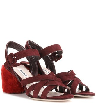 heel sandals suede red shoes