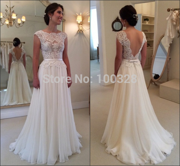 Aliexpress Buy New Elegant Bridal Gown Cap Sleeve Appliques