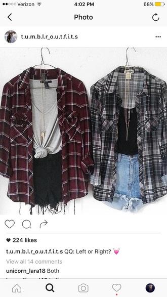 top flannel plaid shirt