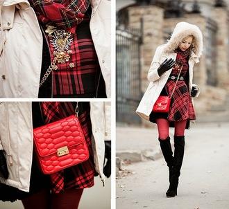 blogger winter outfits tini tani red bag tartan winter coat