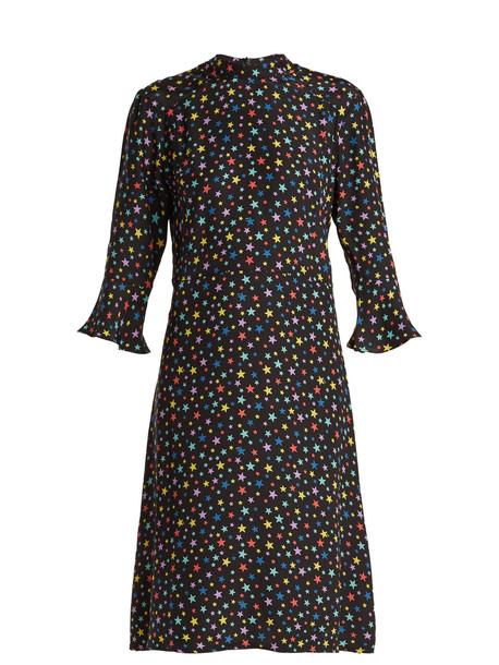HVN Ashley rainbow star-print silk dress