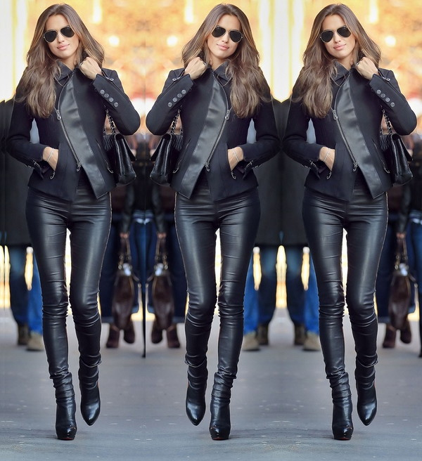High Waist Leather Leggings - Black