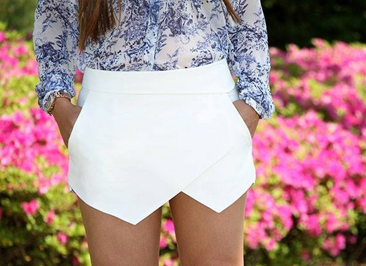 Irregular casual white/black za shorts pants from lacegirl on storenvy