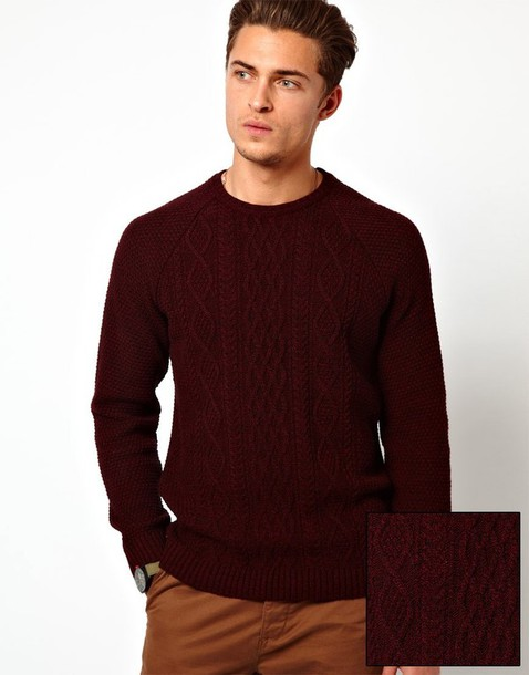 Sweater: boy, red, knitted sweater, knitted sweater, wine red ...
