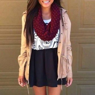 red scarf black skirt t-shirt all cute outfits scarf red