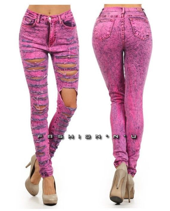 Pink Acid Wash High Waist Distressed Ripped Skinny Leg Jeans Denim ...