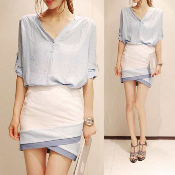 dress white and blue skirt and top wheretoget