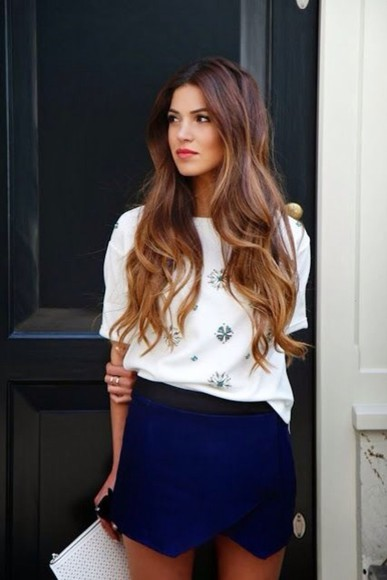 skirt blouse blue skirt skort elegant outfit white t-shirt top