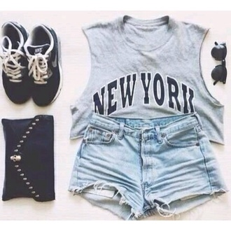 skirt ny tank top shirt shorts t-shirt