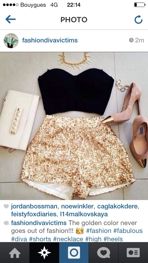 shorts gold short shirt shoes gold glitter shorts gold heels