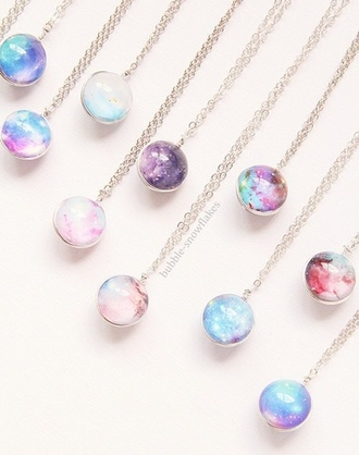 jewels accessories lolipop necklace kawaii pale pastel gemstone pendant galaxy print sphere sphere necklace galaxy necklace nebula 3d 3d necklace tumblr