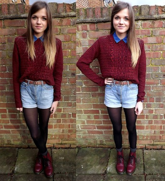 ombre sweater DrMartens High waisted shorts newlook jumper