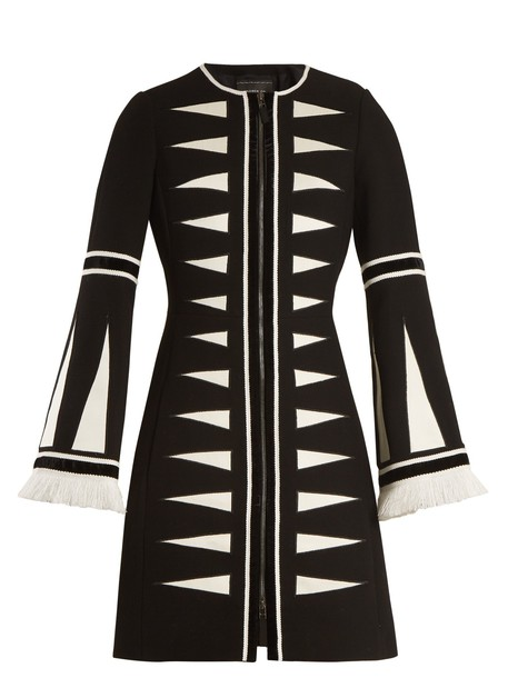 coat geometric wool black cream