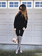 redsolesandredwine,blogger,sweater,shoes,sunglasses,bag,top,chanel bag,black sweater,boots,grey boots,suede boots