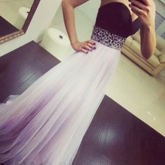 dress prom black belt ombre white sequins