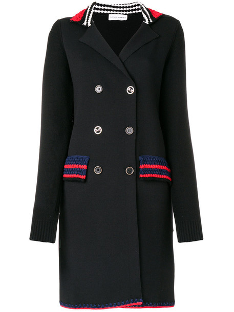 coat women cotton black wool