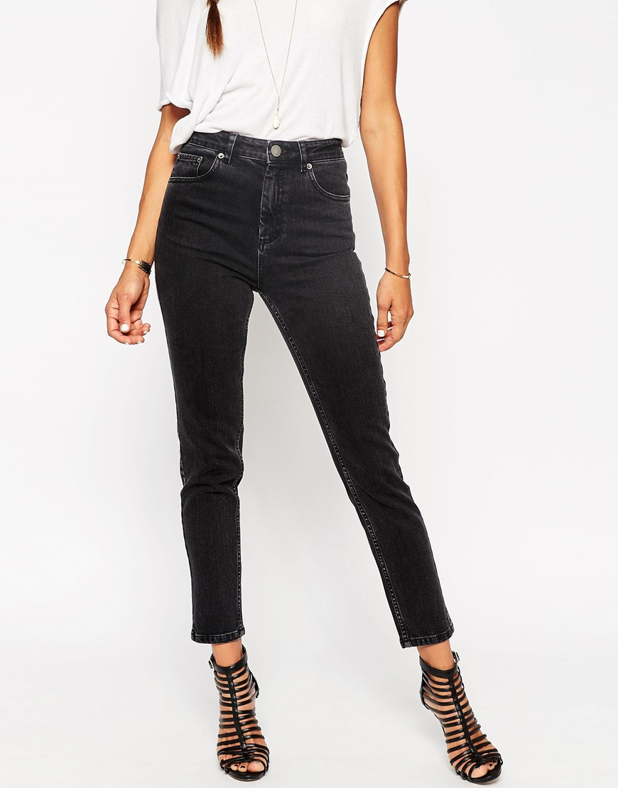 15512435e2 ASOS Farleigh High Waist Slim Mom Jeans In Washed Black at asos.com