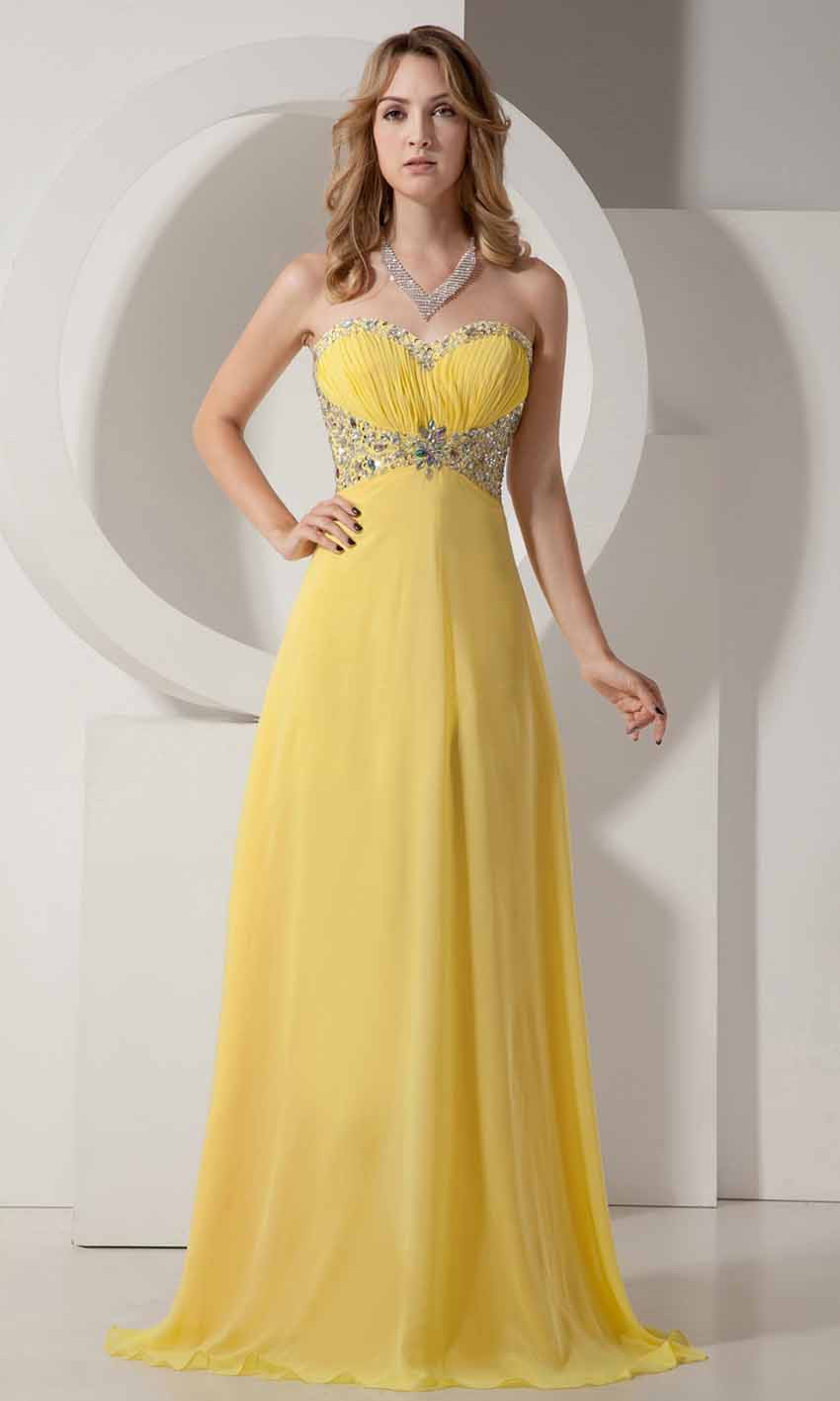 Sequin Sweetheart Empire Long Yellow Prom Dresses Ksp238