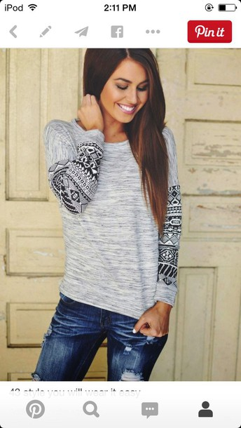 top grey aztec