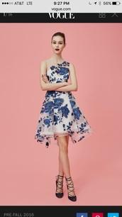 dress,marchesa,blue,embroidered,flowers,paris fashion week 2016