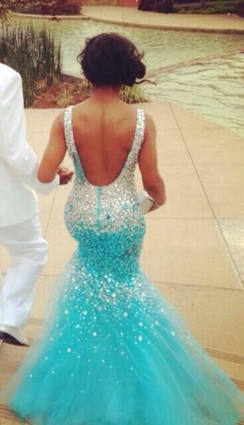 dress blue mermaid prom dress open back sparkle turquoise mermaid rom dresss