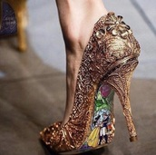 shoes,gold,beauty and the beast,stilettos