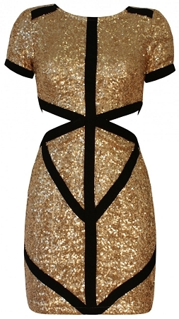 Gold Sequin Black Trim Cut Out Panel Mini Dress / C'est Chic Boutique