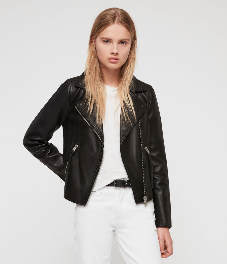 ALLSAINTS UK: Womens Dalby Leather Biker Jacket (black)