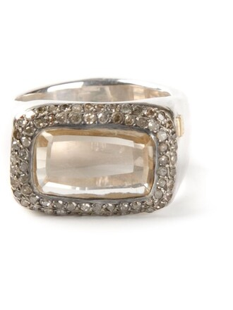 metallic women ring grey jewels