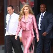 pants,pink,purple,leather,jeans,gigi hadid,jacket