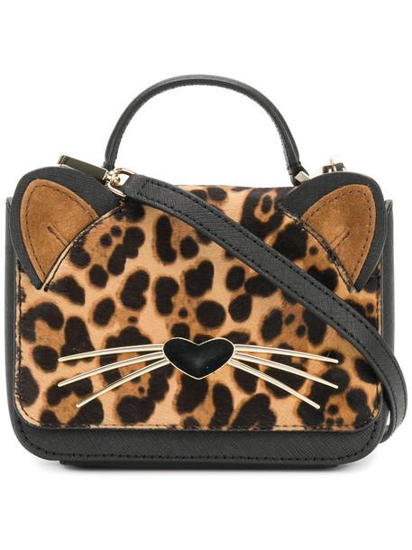 Kate Spade mini hair women bag mini bag leather print black leopard print