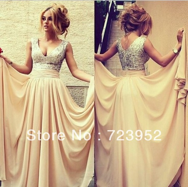 Aliexpress.com : buy online store high quality 2013 dress new fashion v neck sleeveless cream sequin chiffon draped prom gowns formal evening dress  from reliable dress clear suppliers on suzhou aee wedding dress co. , ltd